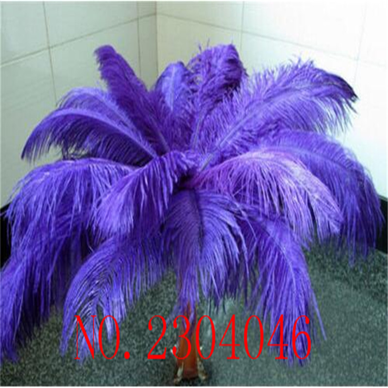 Wholesale 50pcs 40 45cm (16 18inch) Natural Ostrich Feather with Purple DIY Decorative Feather Accessory