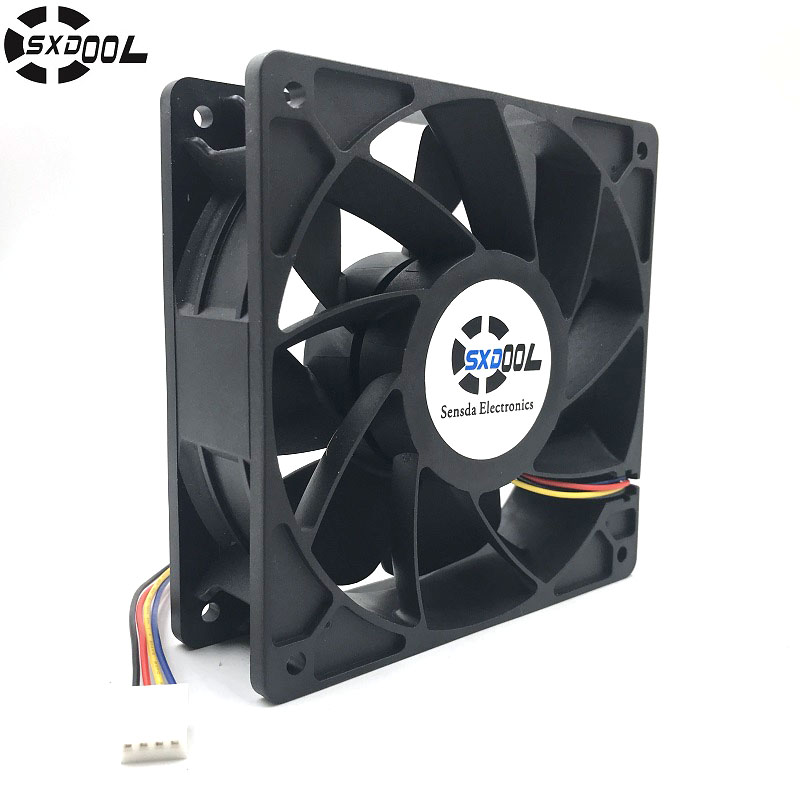 Cooling Fan Replacement D12BM-12D 4-pin Connector PWM 12038 12v 2.3A 6000RPM For Antminer Bitmain S7 S9 USEFUL original delta afc1212de 12038 12cm 120mm dc 12v 1 6a pwm ball fan thermostat inverter server cooling fan
