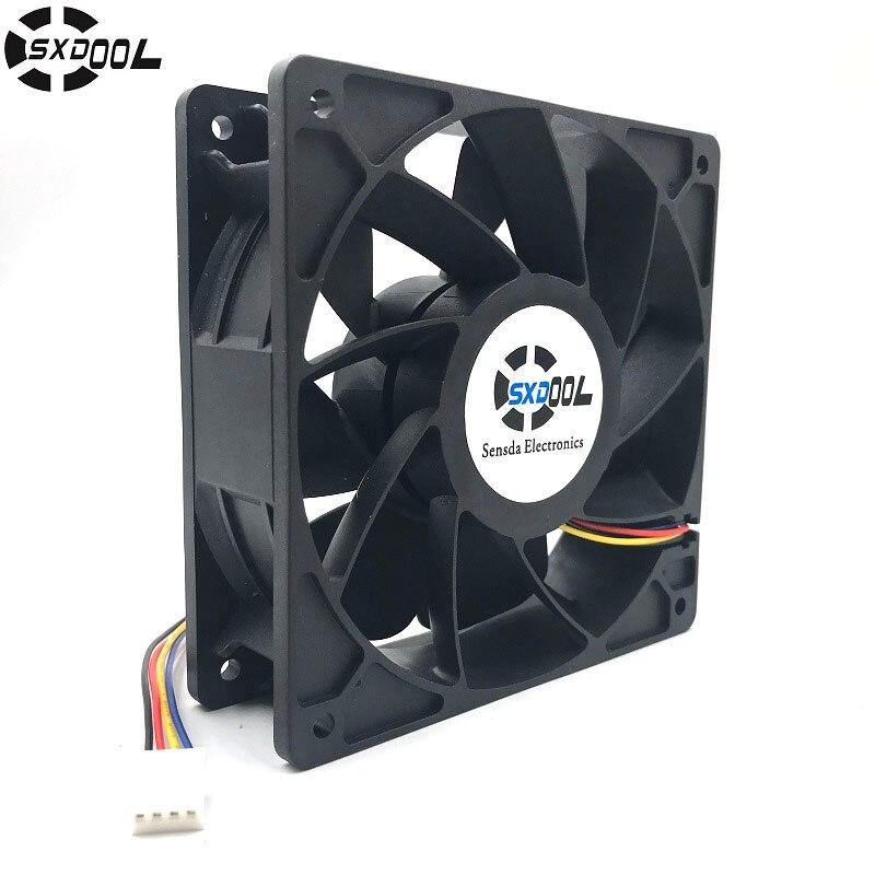 Reemplazo del ventilador D12BM-12D 4-PIN conector PWM 12038 12 V 2.3A 6000 rpm para antminer bitmain S7 S9 útil