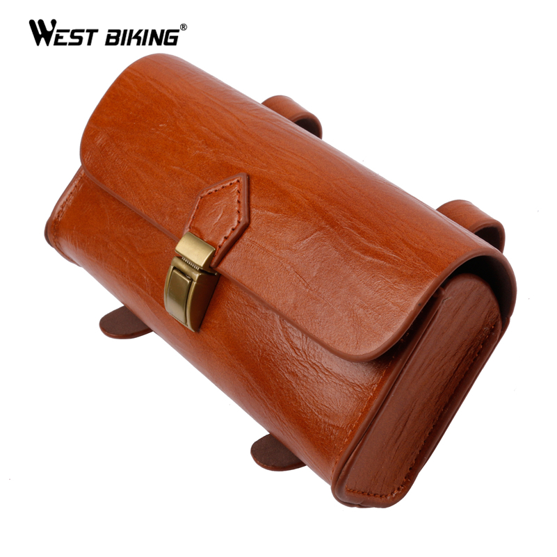 WEST BIKING Retro Bicycle Tail Bag PU Leather Cycling Bag Saddle Pouch Tail Pannier Personalized Riding Vintage Bicycle Bike Bag