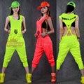 2016 Summer sleeveless Hip Hop Dance Costume Wear Loose Hiphop Harem Jazz Jumpsuit Hooded Zipper Romper Pant Candy Color Overall
