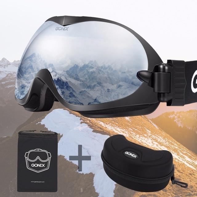 ebef55d50d44 Gonex OTG Ski Goggles Dual Spherical Lens UV 400 Anti-fog Windproof Glasses  for Winter Sports Skiing Snowboard Skate Men Women