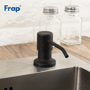 FRAP Liquid Soap Dispenser Stainless Steel Deck Mounted Kitchen Soap Dispensers Black Built in Counter top Dispenser Y35014-2(China)