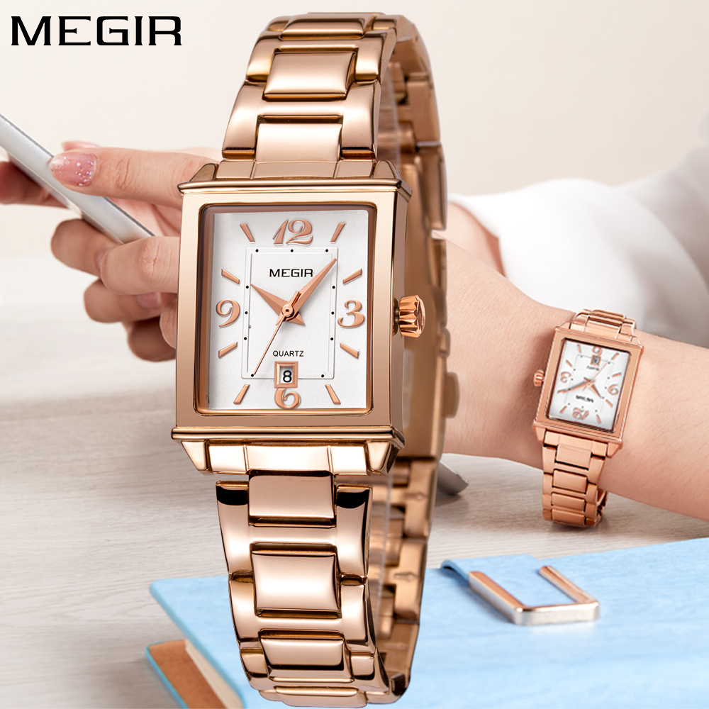 6ce06bf0be3 MEGIR Fashion Ladies Watch Gold Stainless Steel Square Watches For Women  Quartz Wrist Watch Clock Women