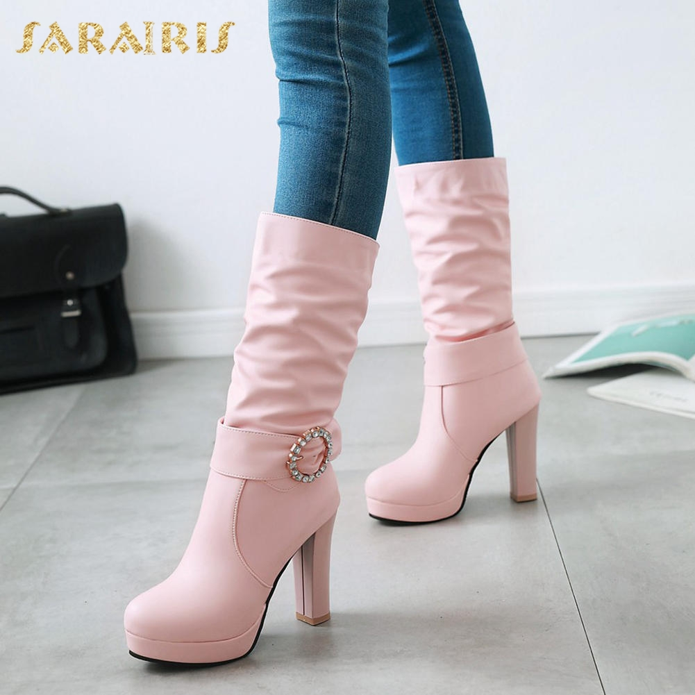 SARAIRIS Metal Decoration Large Size 32-43 Slip On Add Fur Winter Boots Woman Shoes High Heels mid-calf Boots Shoes Woman sarairis new plus size 32 46 slip on add fur add fur winter boots woman shoes chunky heels mid calf boots shoes woman
