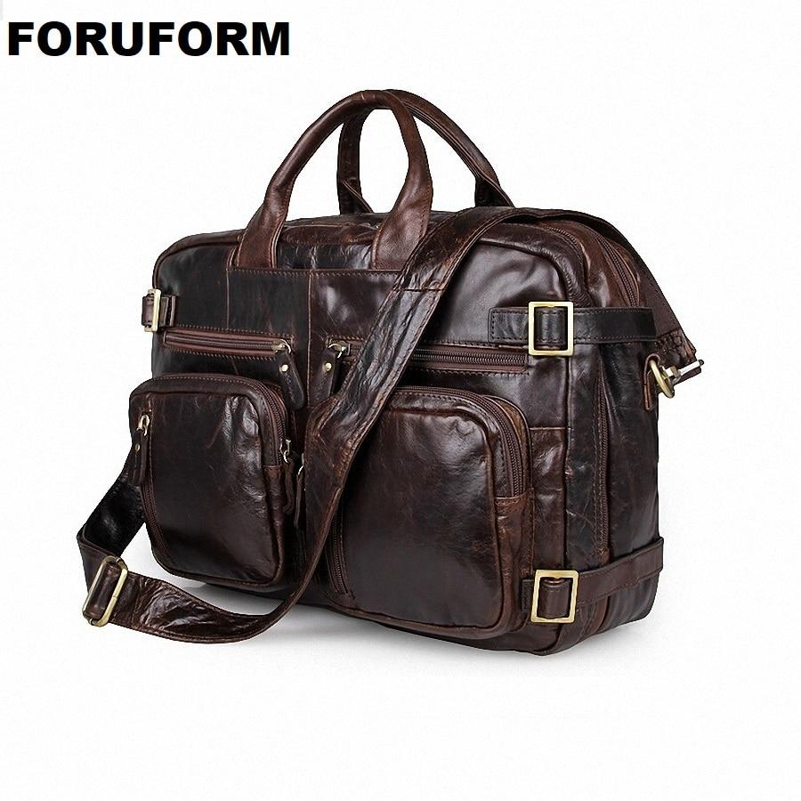 Big Large Capacity Vintage Real Genuine Leather Men Briefcase Messenger Bags Travel Bags For Men Laptop Bag LI-659