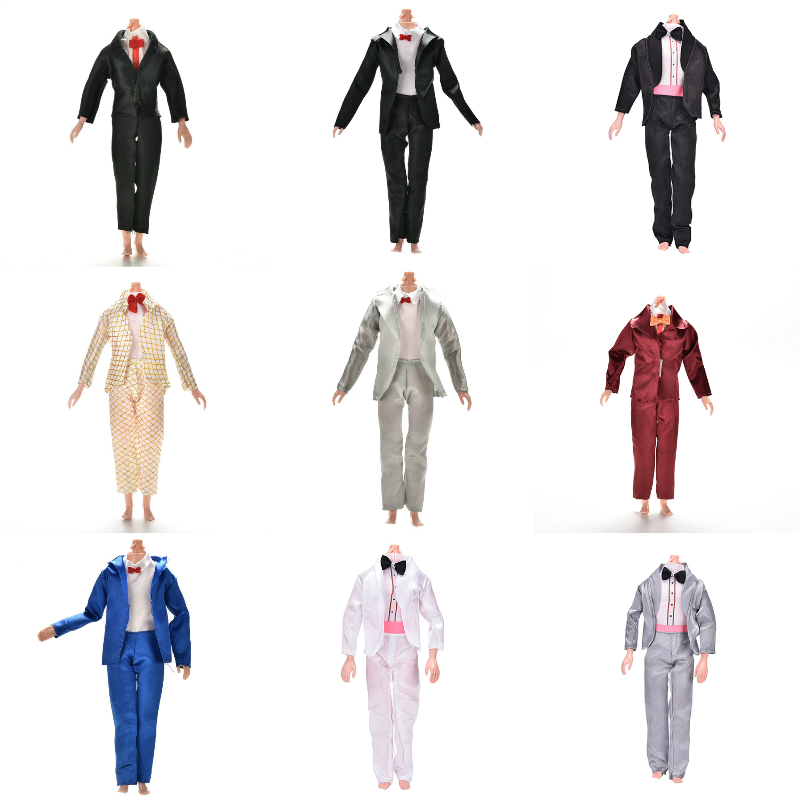 1Set Handmade Prince Suit Bridegroom Wedding Clothes Shirts Coats Bow Tie Pants Cusp Shoes Loafers For Ken Doll