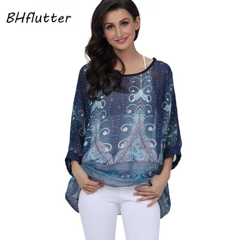 BHflutter סגנון חדש 2018 נשים חולצות בתוספת גודל עטלף פרחוני הדפסת קיץ חולצות Tees אישה מקרית שיפון חולצה חולצה Blusas
