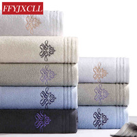 140x70cm Hotels Large Size Thicken 100% Cotton Adult Embroidered Geometric Beach Bath Towel Soft Comfortable Towels Bathroom