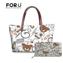 248c8f9c33d7 FORUDESIGNS Top-handle Bags Cartoon Cute Nurse Bear Printing Women s  Handbag Large Capacity Casual Tote