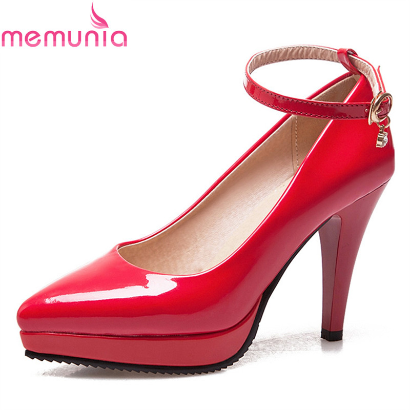 fashion ladies wedding shoes women sexy stiletto pointed toe high heels pumps shoes red black white apricot wine color us8 5 40 MEMUNIA 2018 popular sexy pointed toe fashion solid red women pumps stiletto high heels pointed toe platform wedding shoes