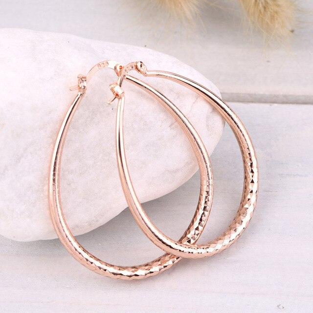 Big Round Copper Alloy Hoop Earrings for Women Earrings Pendientes Rose Gold Col