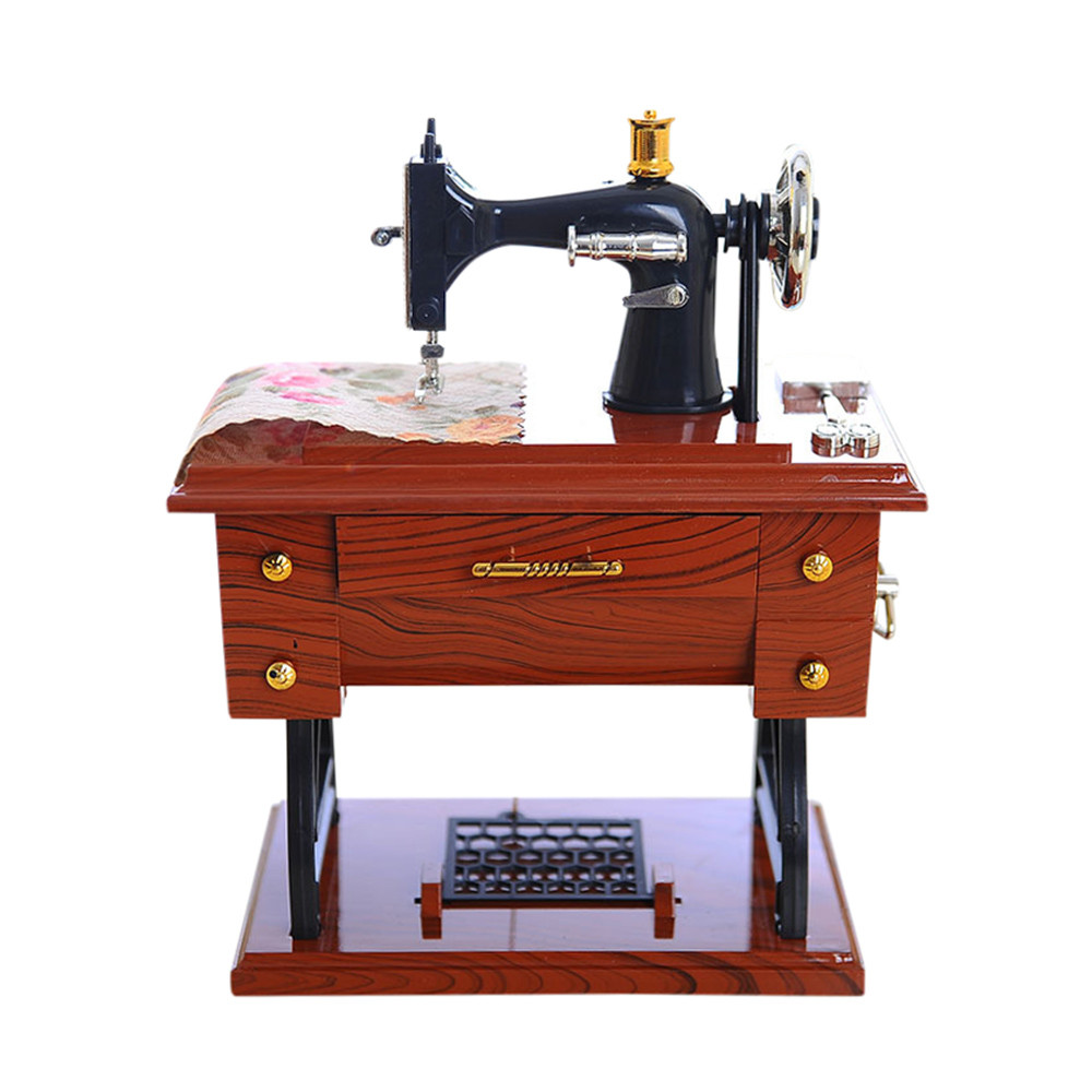 New Small Music Boxes Plastic Vintage Music Box Mini Sewing Machine Style Mechanical Birthday gift for girlfriend Table Decor
