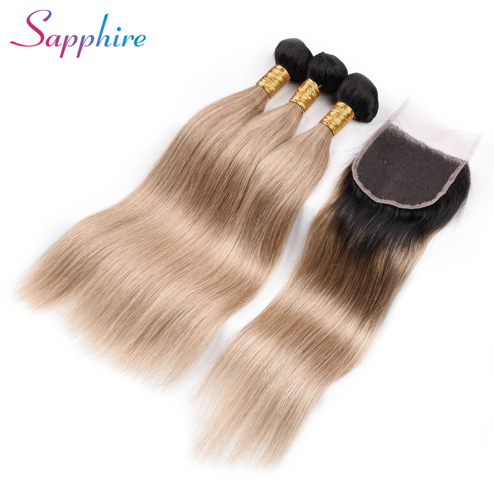 Sapphire Human Hair Bundles With Closure Brazilian Straight Hair Bundles 1B/27 Ombre Bundles With Closure Free/three/Middle Part