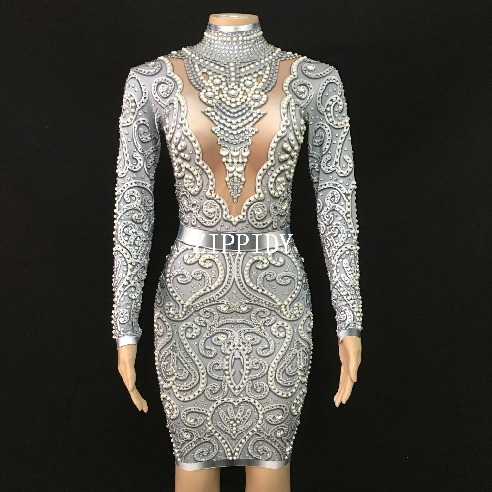 Shining Fashion Gray Pearls Rhinestones Dress long Sleeves Stretch Sexy Dresses Stage Celebrate Nightclub outfit