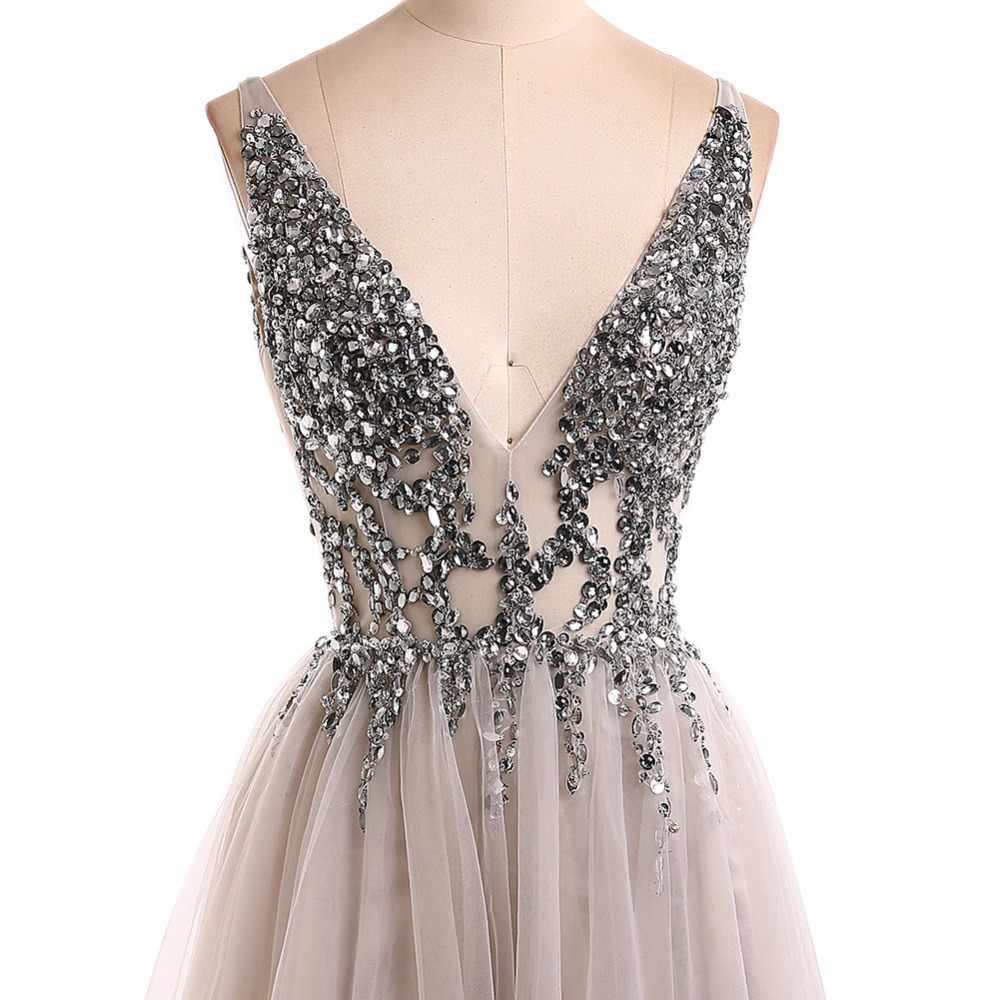 68808342955 ... Сексуальное вечернее платье 2019 v-образный вырез бусины открытая спина  линия Длинные Вечерние Платья Вечеринка ...