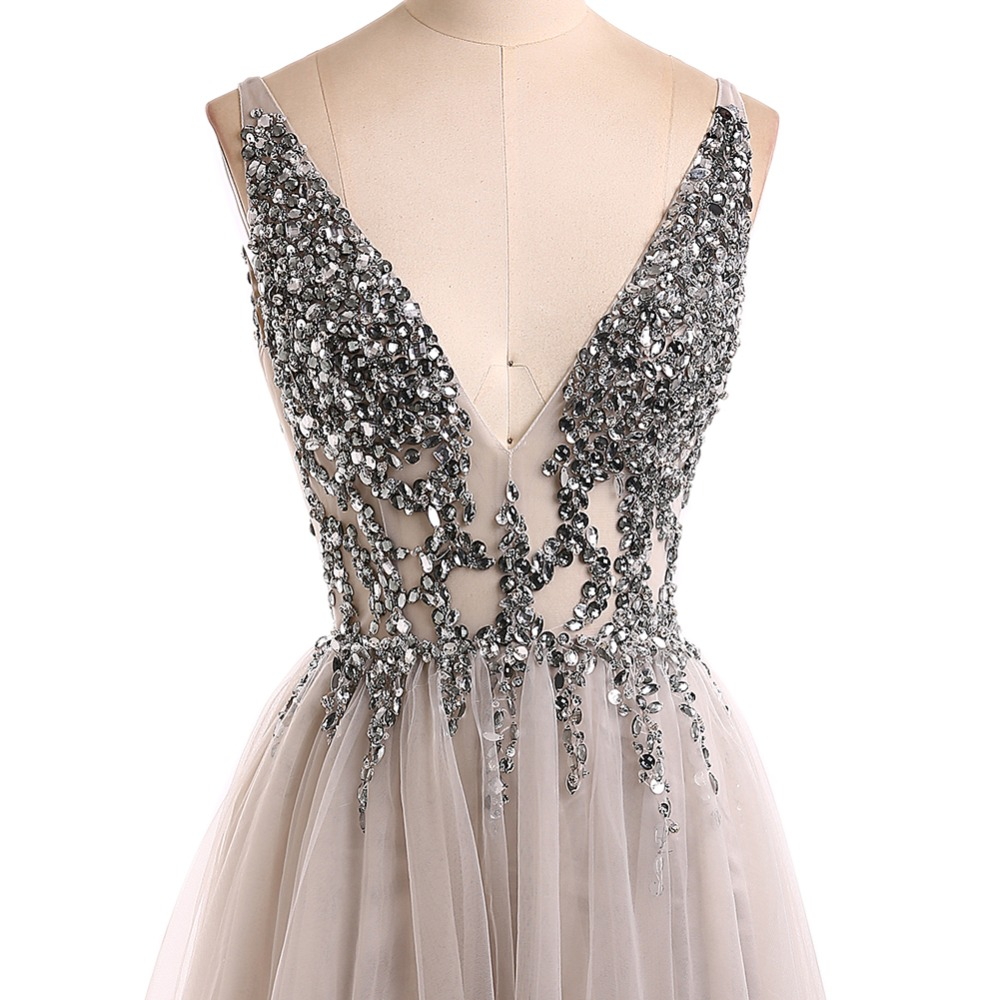 Sexy Evening Dress 2019 V-Neck Beads Open Back A Line Long Evening Dresses Party Vestido De Festa High Split Tulle Prom Gowns