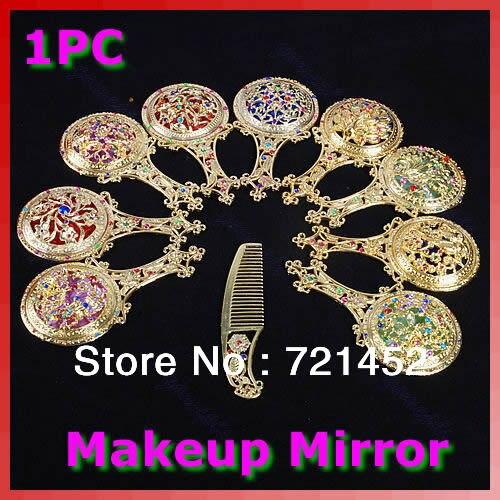 Modestil Strass Retro Damen Make-up Kompakte Pocken Hand Spiegel Haar Kamm Set # Uy283 # Spiegel Haut Pflege Werkzeuge