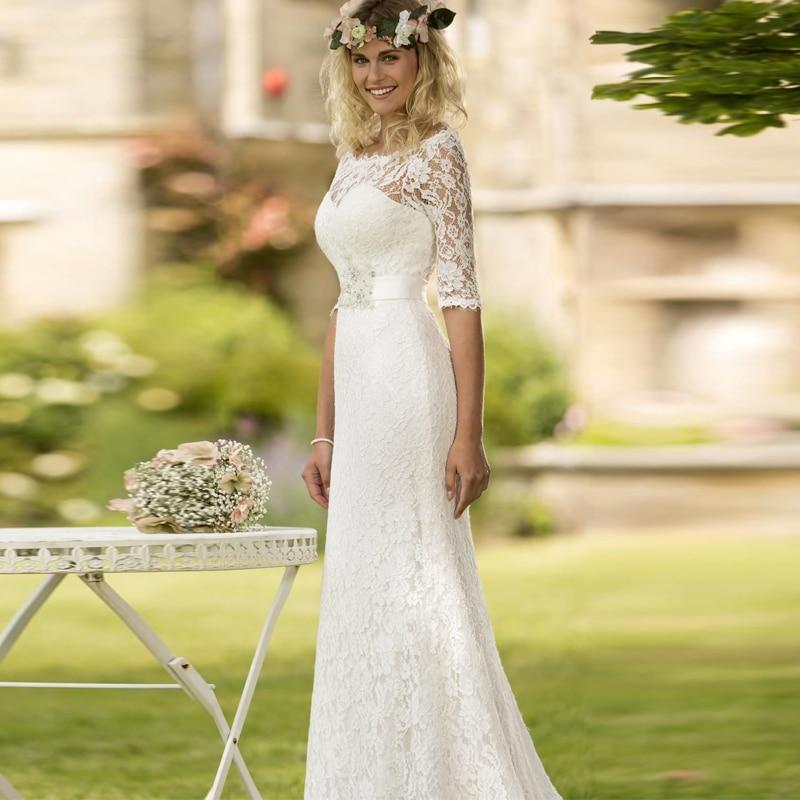 Vestido De Novia De Renda Lace Wedding Dress Half Sleeves Scoop Vintage Mermaid Bridal Gowns With Sash 2016 Casamento