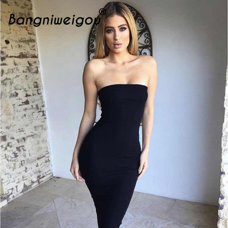 2a4c612af7 ... Bangniweigou Sexy Off Shoulder Tube Dress Summer Women Black White  Basic Bodycon Sundress Strapless Stretchy Bandage ...