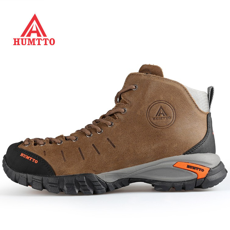 HUMTTO Outdoor Hiking Shoes For Men Genuine Leather Trekking Keep Warm Men's Sneakers Waterproof Climbing Sport Shoes Man Brand yin qi shi man winter outdoor shoes hiking camping trip high top hiking boots cow leather durable female plush warm outdoor boot