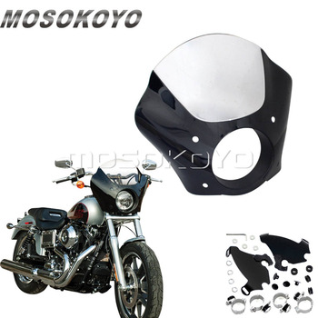 Motorcycle Gauntlet Headlight Fairing Clear Windshield for Harley Sportster Iron 883 1200 Roadster Nightster Seventy Two 1986-15