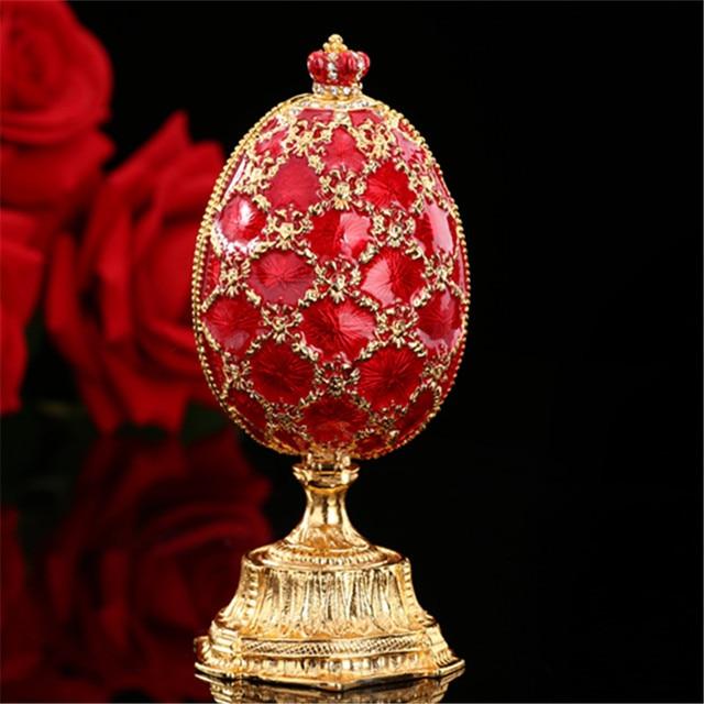 QIFU 러시아 빨간색 파란색 녹색 Faberge 계란과 미니어처 성 홈 장식 선물에 대 한 공예에