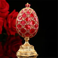QIFU Russia popular red faberge egg and miniature Castle in crafts for gifts|egg faberge|castle miniature|egg gift -