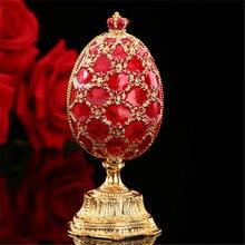 QIFU rosja czerwony niebieski zielony jajko Faberge i miniaturowy zamek w rzemiosła do wystroju domu prezent