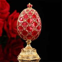 Qifu ovos de decoração para artesanato, fibra verde e vermelha russa em miniatura