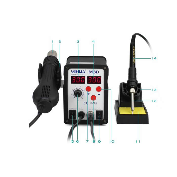 YIHUA 898D SMD Soldering station rework machine with hot air gun solder iron 2 in 1 yihua 898d led digital 700w lead free smd desoldering soldering station hot air soldering station