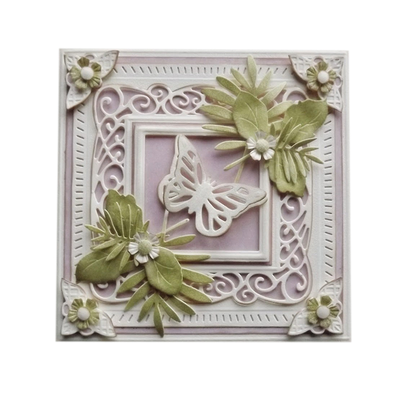 Flower Border Frame Metal Cutting Dies Stencils For DIY Scrapbooking Photo Decorative DIY Paper Card Stencil 12*12CM