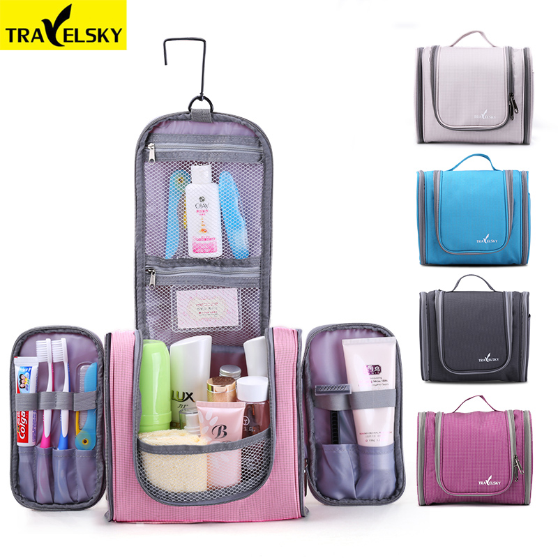 d952fb4490 Travelsky Family Travel Organizer Bag Hanging Toilet Makeup Bag Women s  Waterproof Washing Toiletry Handbags Men Cosmetic Bags-in Cosmetic Bags    Cases from ...