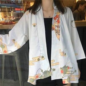 Image 4 - קימונו אישה 2019 יפני קימונו קרדיגן קוספליי חולצה חולצה לנשים יפני יאקאטה נשי קיץ חוף קימונו FF1127