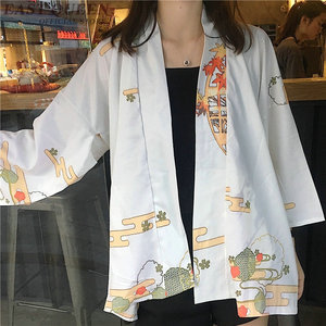 Image 4 - Kimonos woman 2019 Japanese kimono cardigan cosplay shirt blouse for women Japanese yukata female summer beach kimono FF1127
