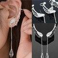 Silver Plating Angel Wing Stylist Crystal Earrings Drop Strap Earrings Women Long Sleeve Earrings Tassel Angel Wing Ear Clip