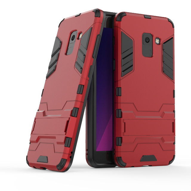 Hybrid Hard Back Rubber Cover Fold Stand Holder Smart Iron Man Armor for Galaxy S6 S7 Edge S8 S9 A6 Plus Note 8 A8 A7 A5 Case