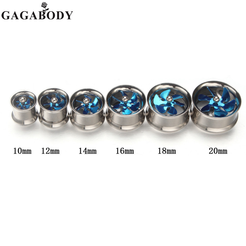 1 Pair Silver Stainless Steel Punk Screw Tunnels Ear Plugs Stretcher Expander