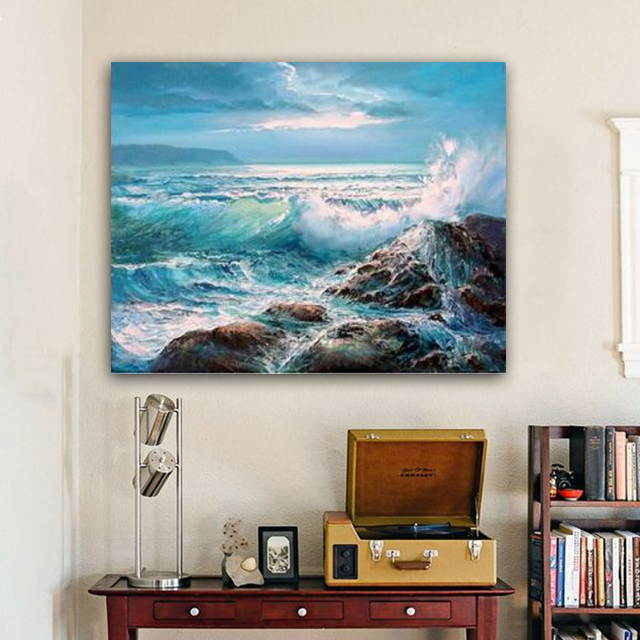 Painting By Numbers Art Paint By Number Diy On Canvas  The Wall Paint By Number Draw Picture  With Frame Huge Waves Surf Horizon