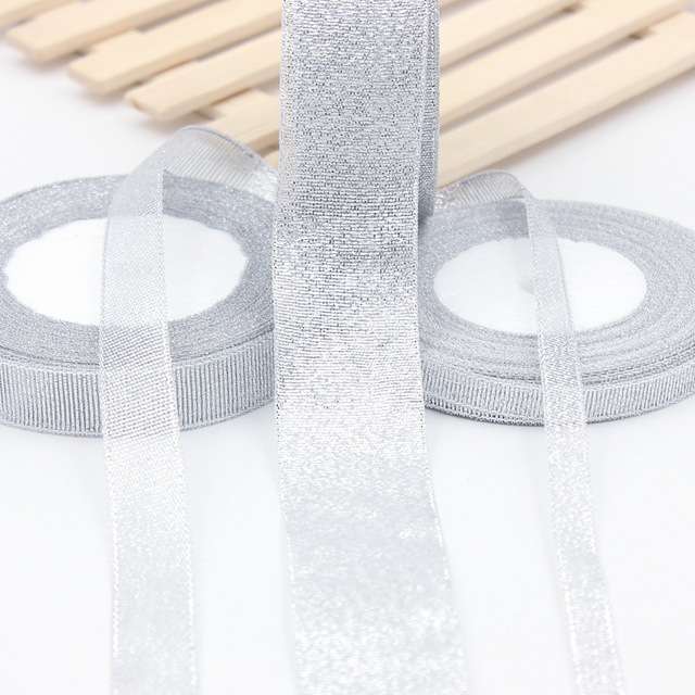 25Yards Long Silver Silk Satin Ribbon Party Home Wedding Decoration Gift Wrapping Christmas New Year DIY Material 6-50MM Wide