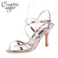 Creativesugar Metallic gold silver blue sandal sexy crossed strap summer wedding cocktail party lady dress shoes 8.5cm high heel