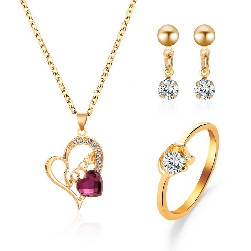 Conjuntos de joyas de África color oro nupcial collar pendientes anillo de cristal de la boda sieraden joyería de moda de mujer conjunto