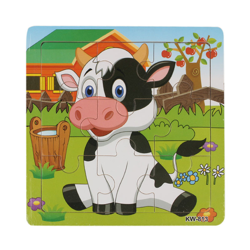 Puzzles For Children Wooden Dairy Cow Jigsaw For Kids Education And Learning  Toys Puzzles Games Dropshipping 2018