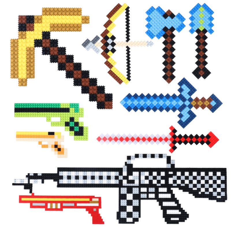 DIY Minecrafted Building Blocks Sword Axe Gun Model Blocks Sets Toys Gift Toys For Kids Birthday Christmas Gifts new arrival super wings plane base assembly building blocks educational diy models toys birthday christmas gift for kids