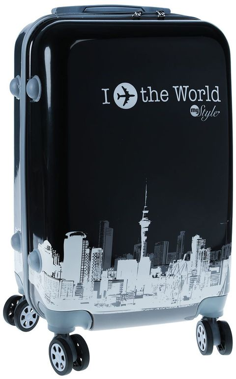 Fashionable suitcase with print PROFFI TRAVEL PH8653, S, plastic, with combination lock fashionable suitcase with print proffi travel ph9209 m plastic medium with combination lock