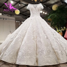 08d43d100 AIJINGYU 2018 الفاخرة الكريستال تألق الماس جديد الساخن بيع ثوب الخامس  الرقبة الرسمي العروس فساتين الزفاف اللباس للبيع WT232