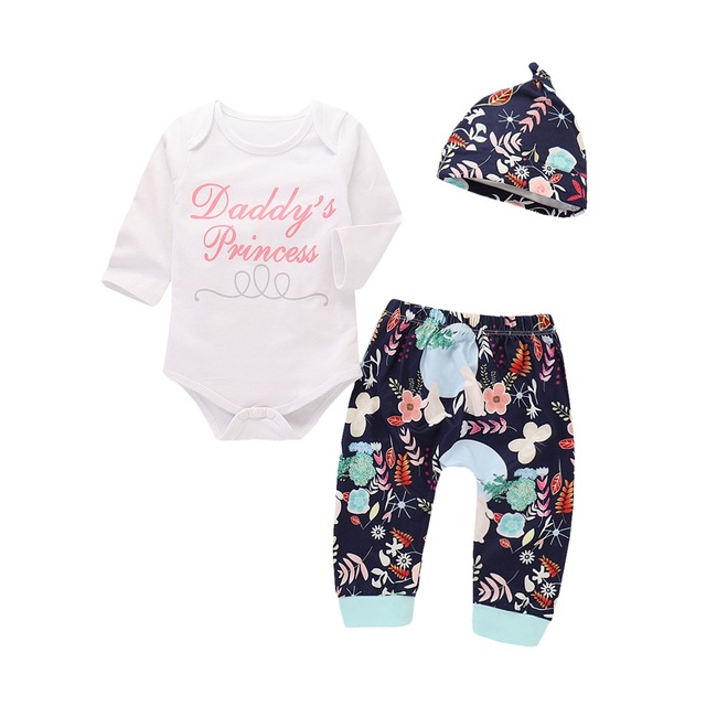 61f389cb450 Emmababy New Cute Infant Baby Girls Cotton Romper Jumpsuit Hat Floral Pants  Outfit 3PCS Clothes