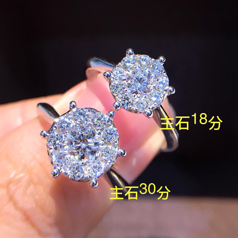 Natural Diamond 18K Gold Pure AU 750 Gold Solid Gold Rings Beautiful Upscale Trendy Classic Party Fine Jewelry Hot Sell New 2018