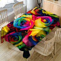 Tablecloth Waterproof And oil proof Tablecloth PVC Tablecloth Valentine's Tablecloth Print Rectangle Table Cover Home Decor