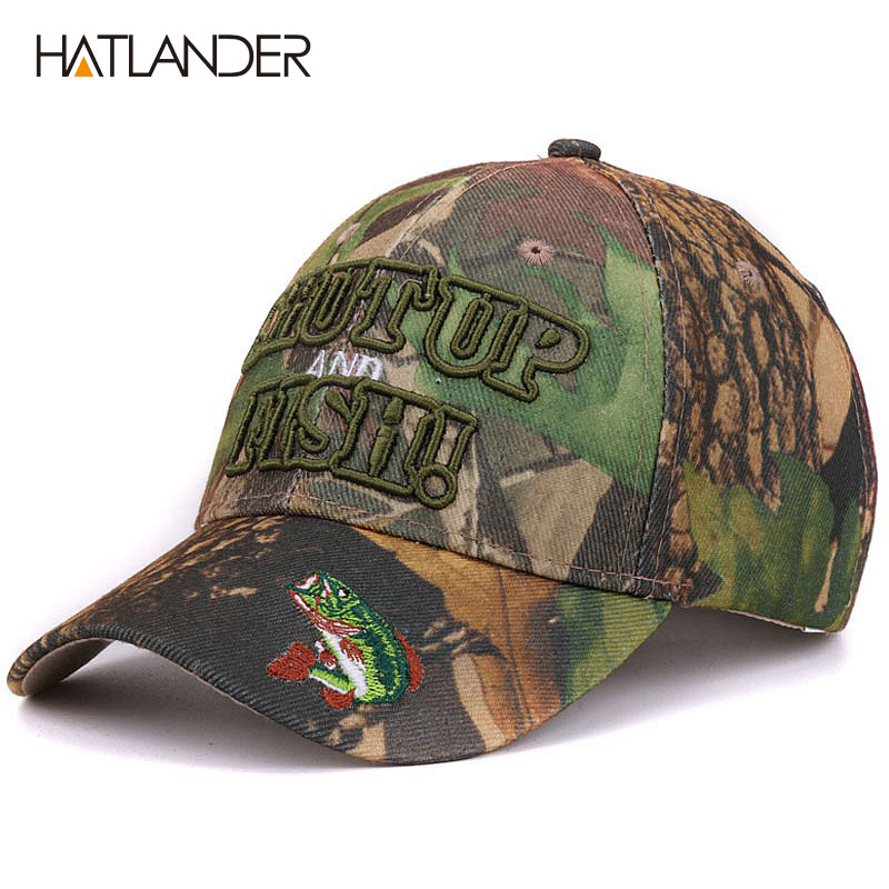 Sombreros de camuflaje al aire libre Hatlander verano sol pesca sombrero deporte curqueado casquette bordado 3D carta pescado camo gorra de béisbol hombres